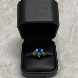 14k Yellow Gold Blue Topaz with Diamonds Ring